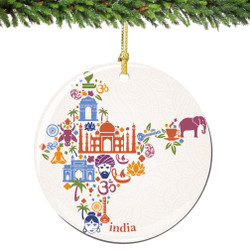 India Christmas Ornament Porcelain Double Sided