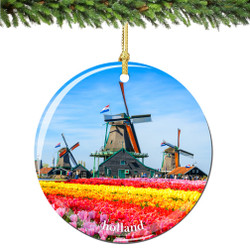 Holland Christmas Ornament Porcelain Double Sided
