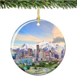 Denver Colorado Christmas Ornament Porcelain Double Sided