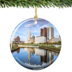 Columbus Ohio Christmas Ornament Porcelain Double Sided