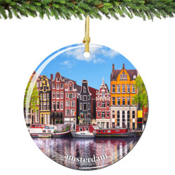 Amsterdam Christmas Ornament Porcelain Double Sided