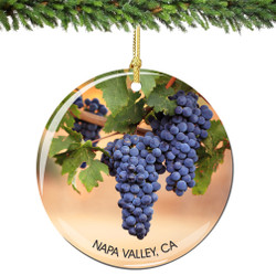 Napa Valley California Christmas Ornament Porcelain Double Sided