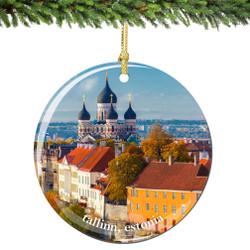Tallinn Estonia Christmas Ornament Porcelain Double Sided