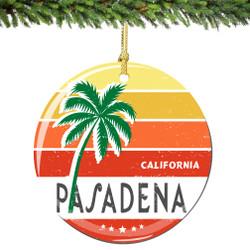 Pasadena California Christmas Ornament Porcelain Double Sided