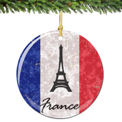 France Flag and Eiffel Tower Christmas Ornament Porcelain Double Sided