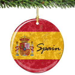 Spain Flag and Shield Christmas Ornament Porcelain Double Sided