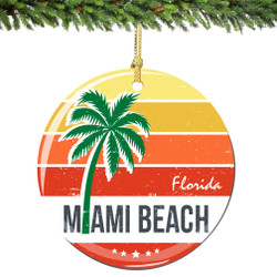 Miami Beach Florida Christmas Ornament Porcelain Double Sided