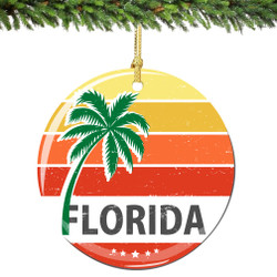 Florida Christmas Ornament Porcelain Double Sided
