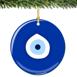Evil Eye Christmas Ornament Porcelain Double Sided
