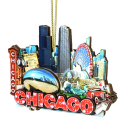 3D Chicago Christmas Ornament