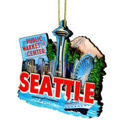 3D Seattle Christmas Ornament