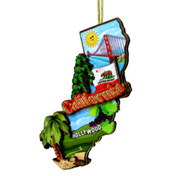3D California Christmas Ornament
