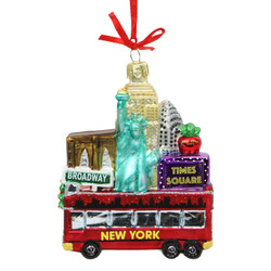 New York City Christmas Tour Glass Ornament