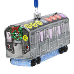 NYC Subway Car Glass Ornament