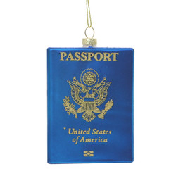 USA Passport Glass Ornament