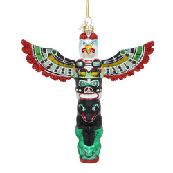 Totem Pole Glass Christmas Ornament
