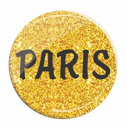 Gold Glitter Paris Lapel Pin