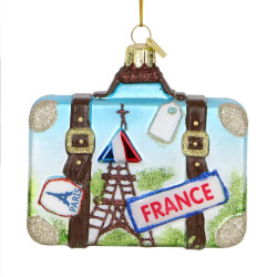 Paris Suitcase Glass Ornament