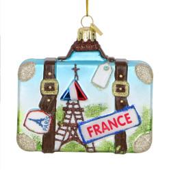 Paris Suitcase Glass Ornament