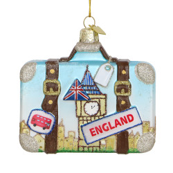 London Suitcase Glass Ornament