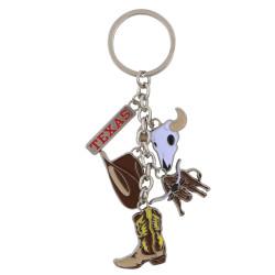 Metal Texas Key Chain 5 Charms