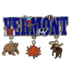 Metal Vermont Magnet 3 Charms