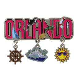 Metal Orlando Magnet 3 Charms