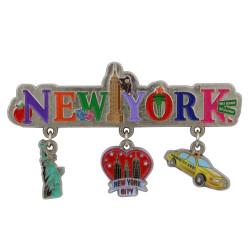 Metal New York City Magnet 3 Charms
