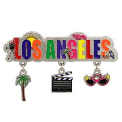 Metal Los Angeles Magnet 3 Charms