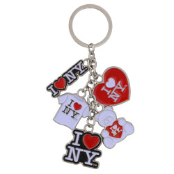 Metal I Love NY Key Chain 5 Charms