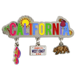 Metal California Magnet 3 Charms