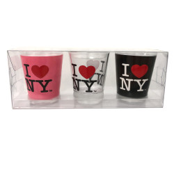 I Love NY Shot Glasses Set, Pink, Clear, and Black