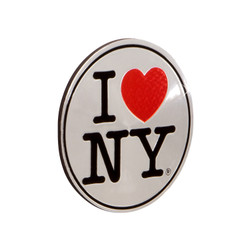 I Love NY Magnet Silver Foil Round