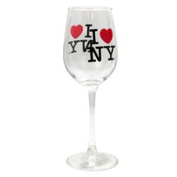 I Love NY Wine Glass