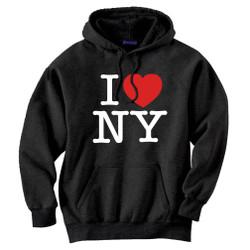 Black I Love NY Sweatshirt Hooded