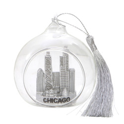 Chicago Christmas Ornament Glass Ball with Willis Tower and John Hancock Building with Skyline