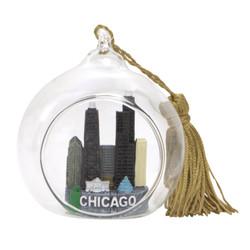 Chicago Christmas Ornament Glass Ball with Willis Tower and John Hancock Building