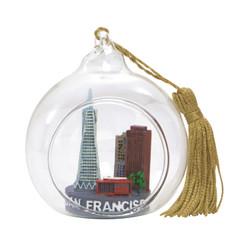 San Francisco Christmas Ornament Glass Ball with Skyline
