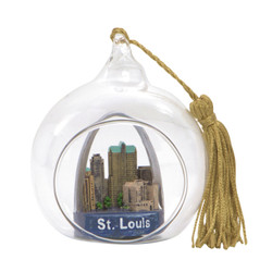 St. Louis Christmas Ornament Glass Ball with Gateway Arch