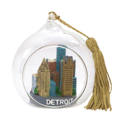 Detroit Christmas Ornament Glass Ball with Skyline