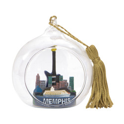 Memphis Christmas Ornament Glass Ball with Steamboat and Guitar