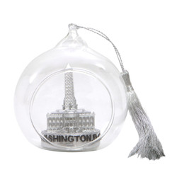 Washington DC Christmas Ornament Glass Ball Silver with White House, US Capitol Building and Washington Monument