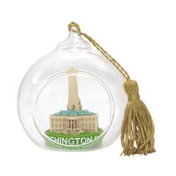 Washington DC Christmas Ornament Glass Ball with White House, US Capitol and Washington Monument