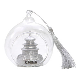 China Christmas Ornament Glass Ball with Temple of Heaven