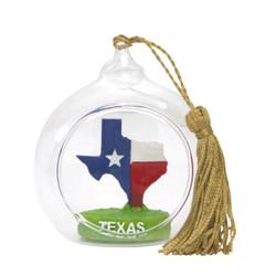 Texas Christmas Ornament Glass Ball With State Flag