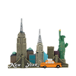 NYC Skyline Magnet with Taxi