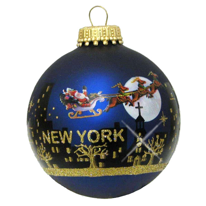 Santa Claus Christmas New York City Skyline Ornament
