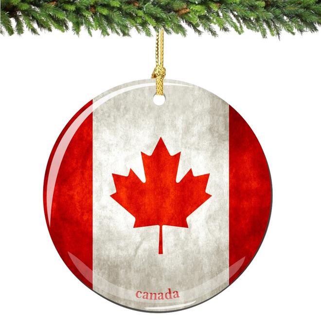 Porcelain Canada Flag Christmas Ornament