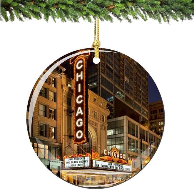 Porcelain Chicago Christmas Ornament