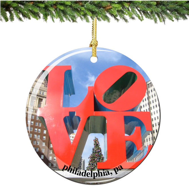 Porcelain LOVE Christmas Ornament